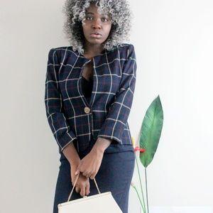 Vintage 80s Plaid Blazer + Skirt Suit Set